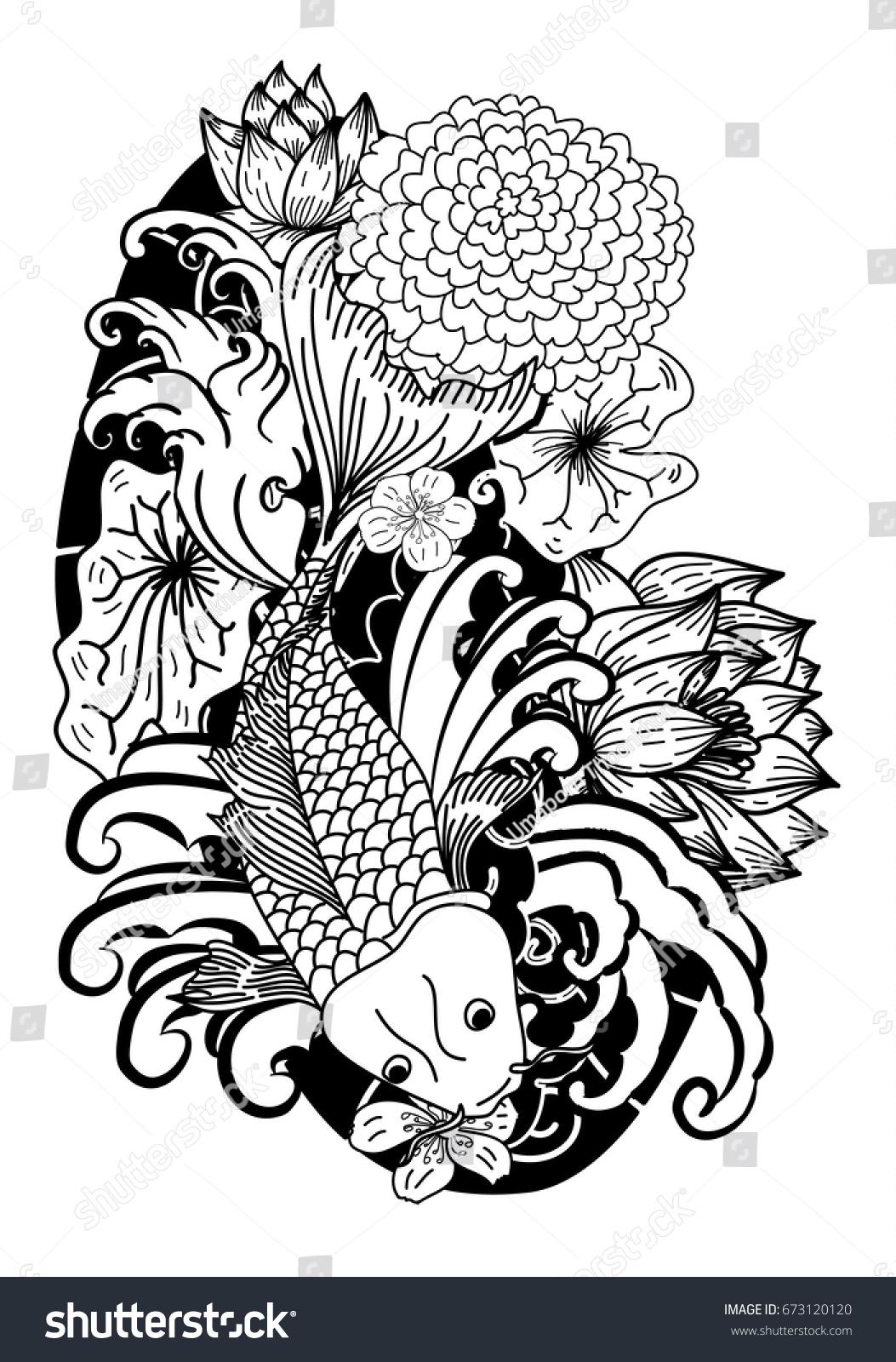 Beautiful line art koi carp tattoo stock vector 673120120 shutterstock beautiful line art koi carp tattoo design black and white koi fish and flower izmirmasajfo