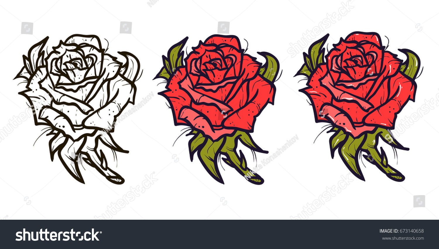 Red Rose Tattoo Vector Set On Stock Vector Royalty Free 673140658