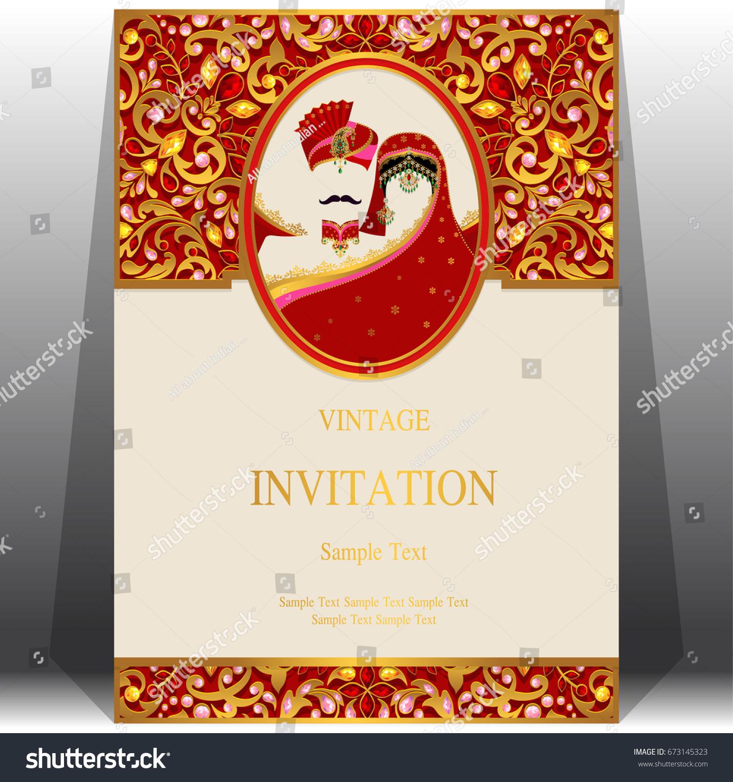 Wedding Invitation Card Templates Indian Man Stock Vector ...