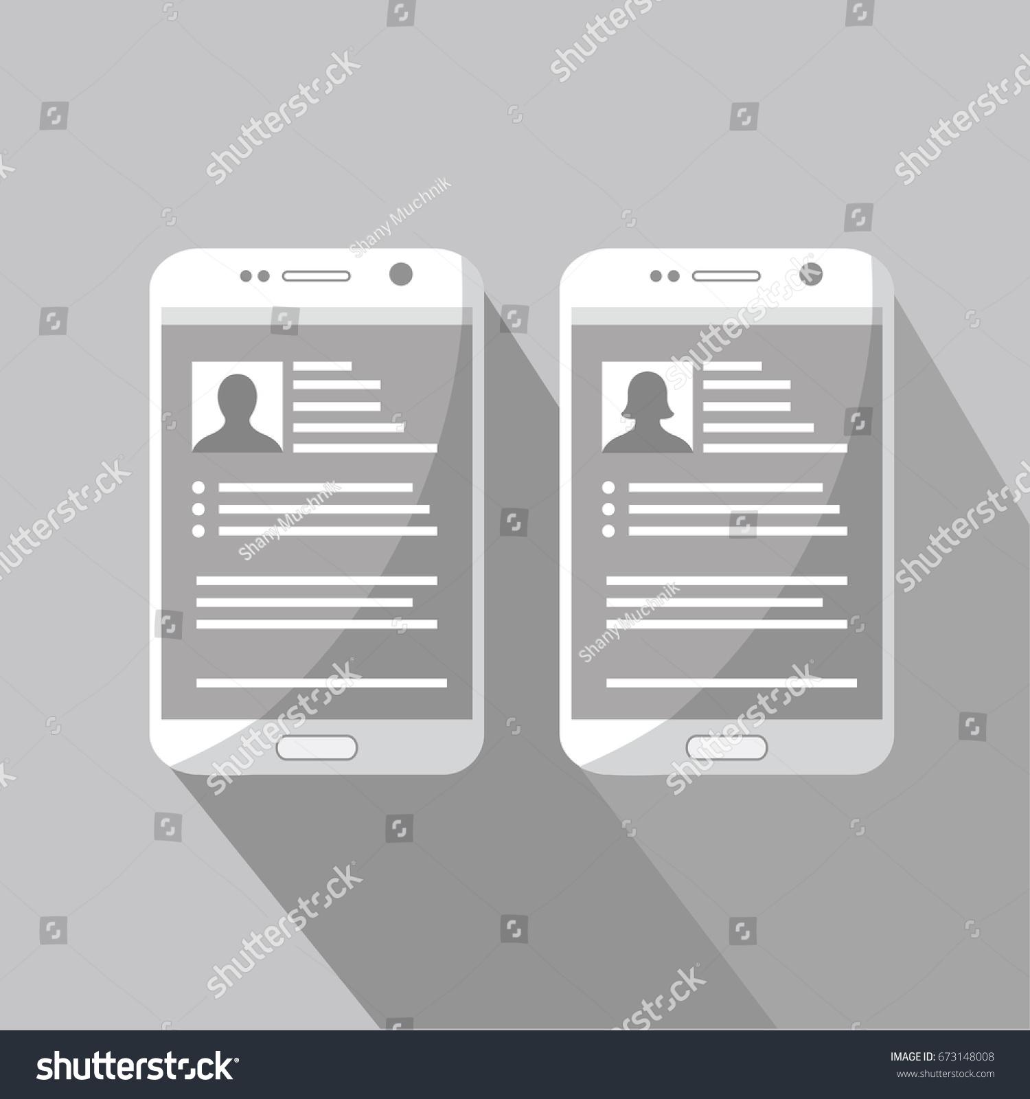 mobile cell phone vector resume cv stock vector 673148008