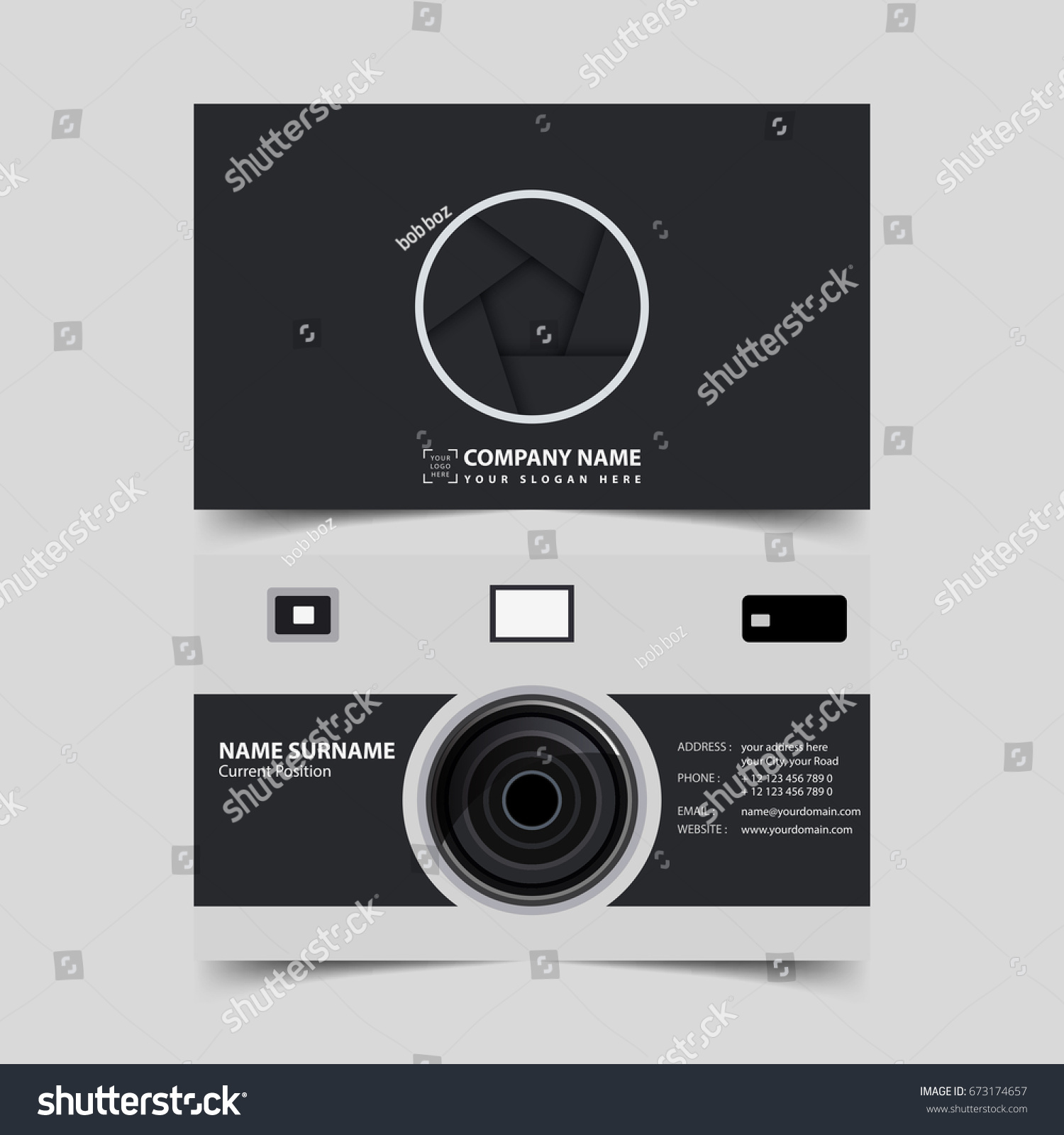 Photographer Business Card Design Template Stock Vector 673174657 ...