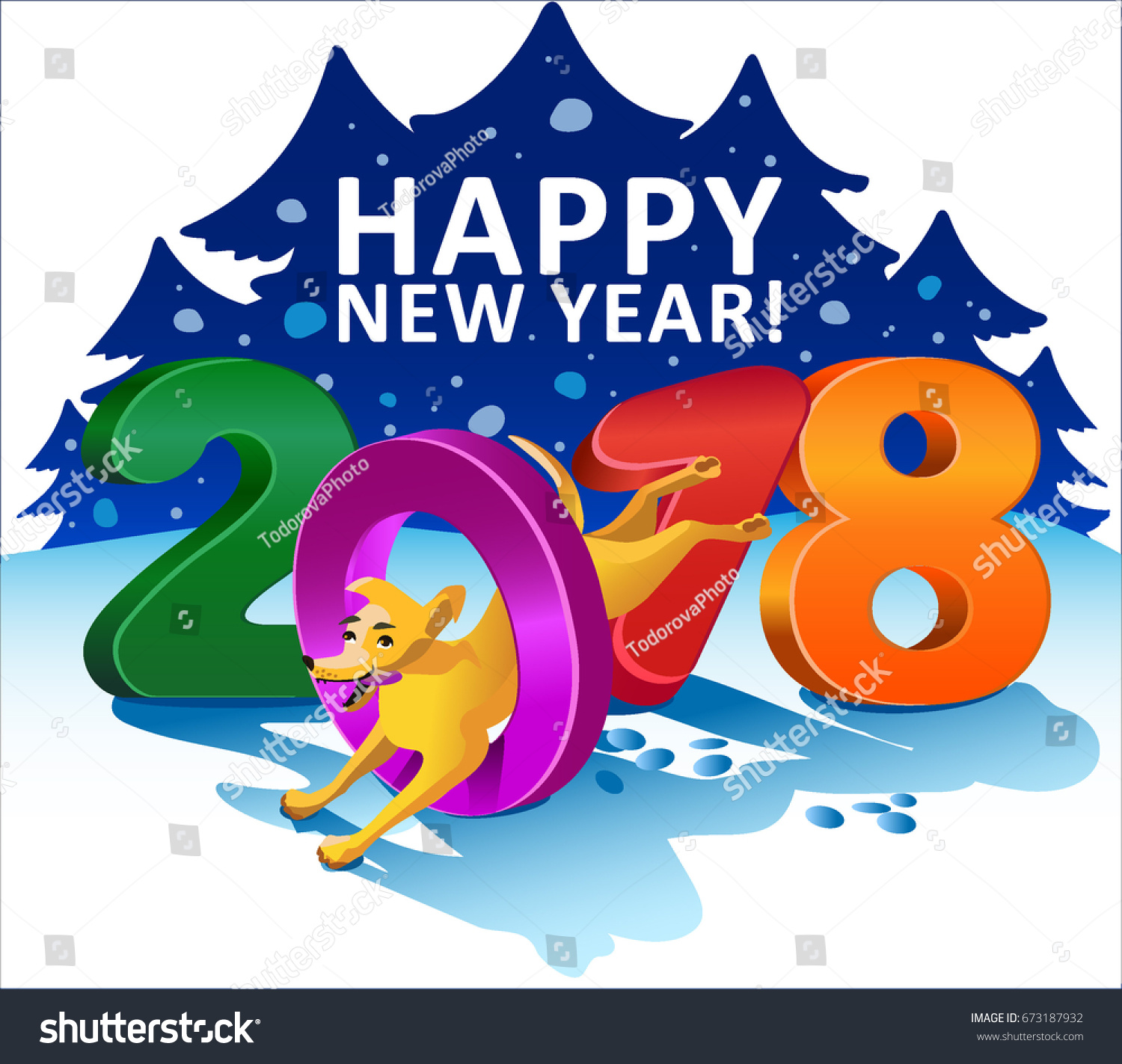 happy new year 2018 greeting card year of the dog yellow cartoon dog jumps