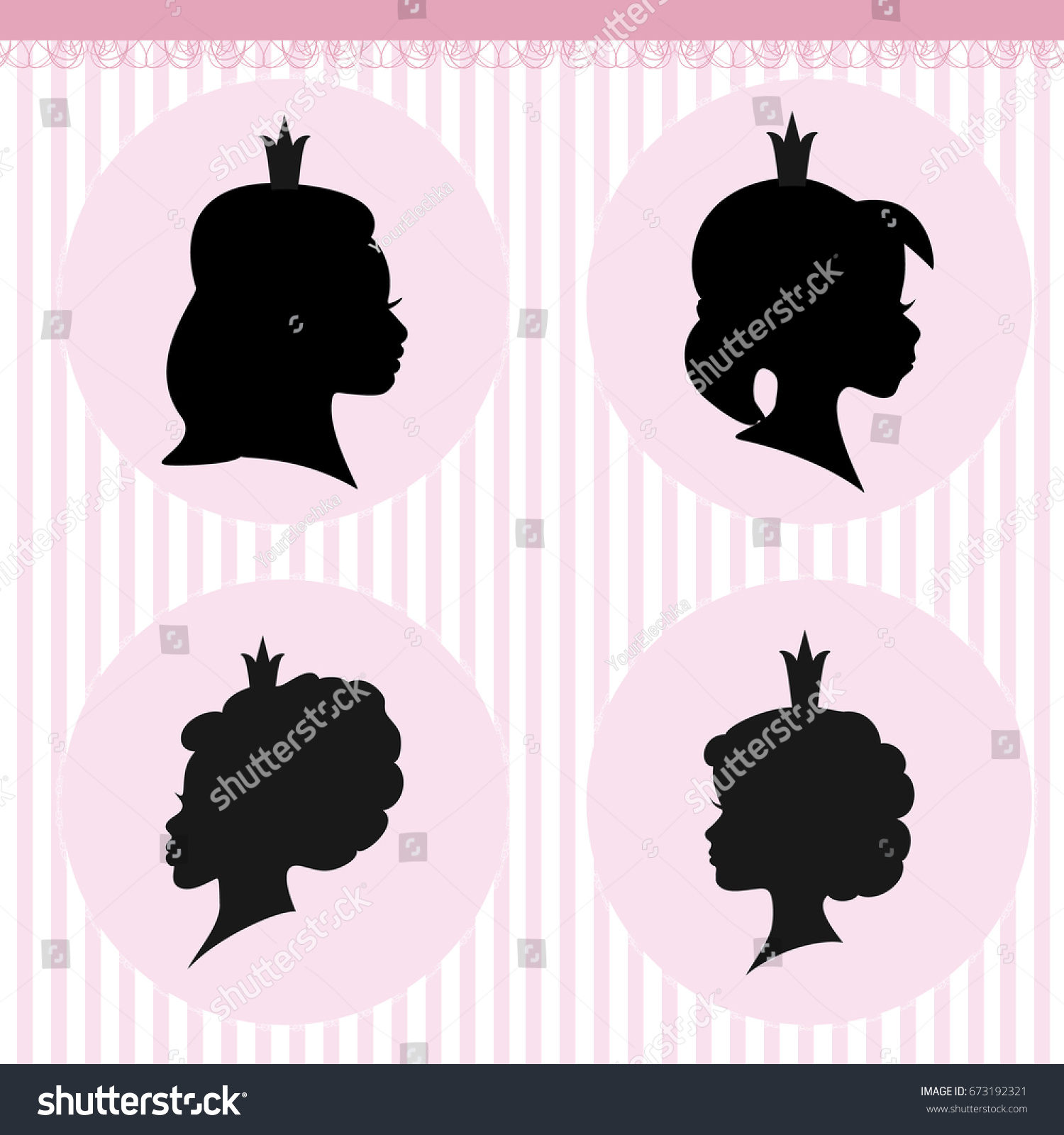set pretty young princess silhouette vector illustration stock