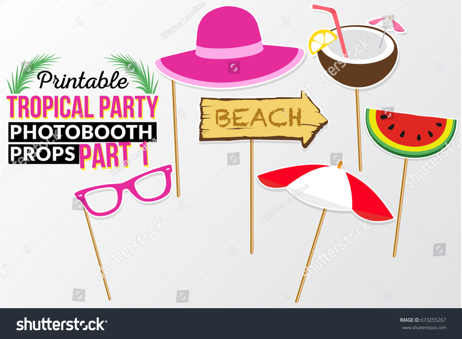 set printable tropical party photo booth stock vector 673255267