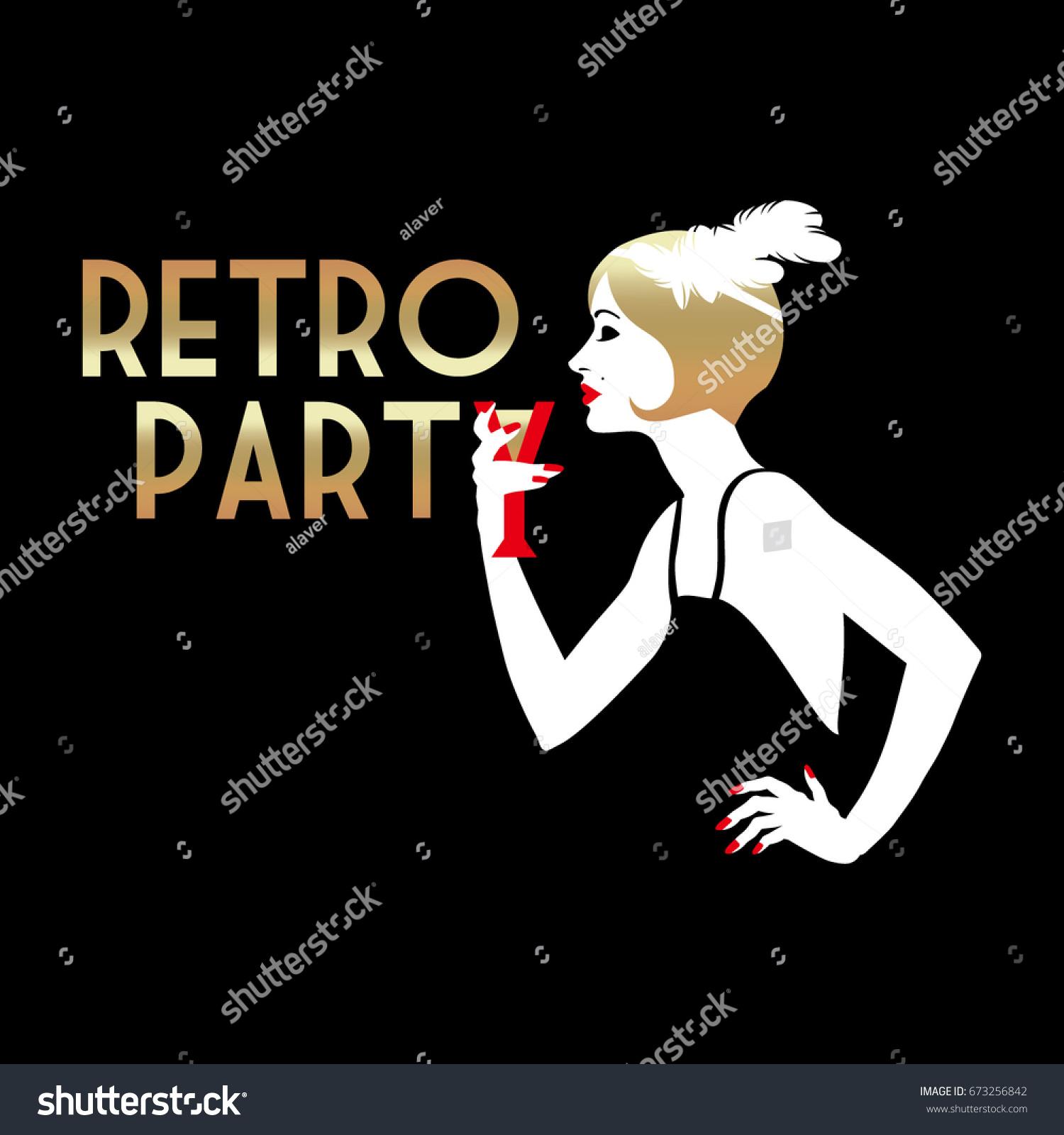 Retro Party Invitation Card Handmade Drawing Stock Vector ...