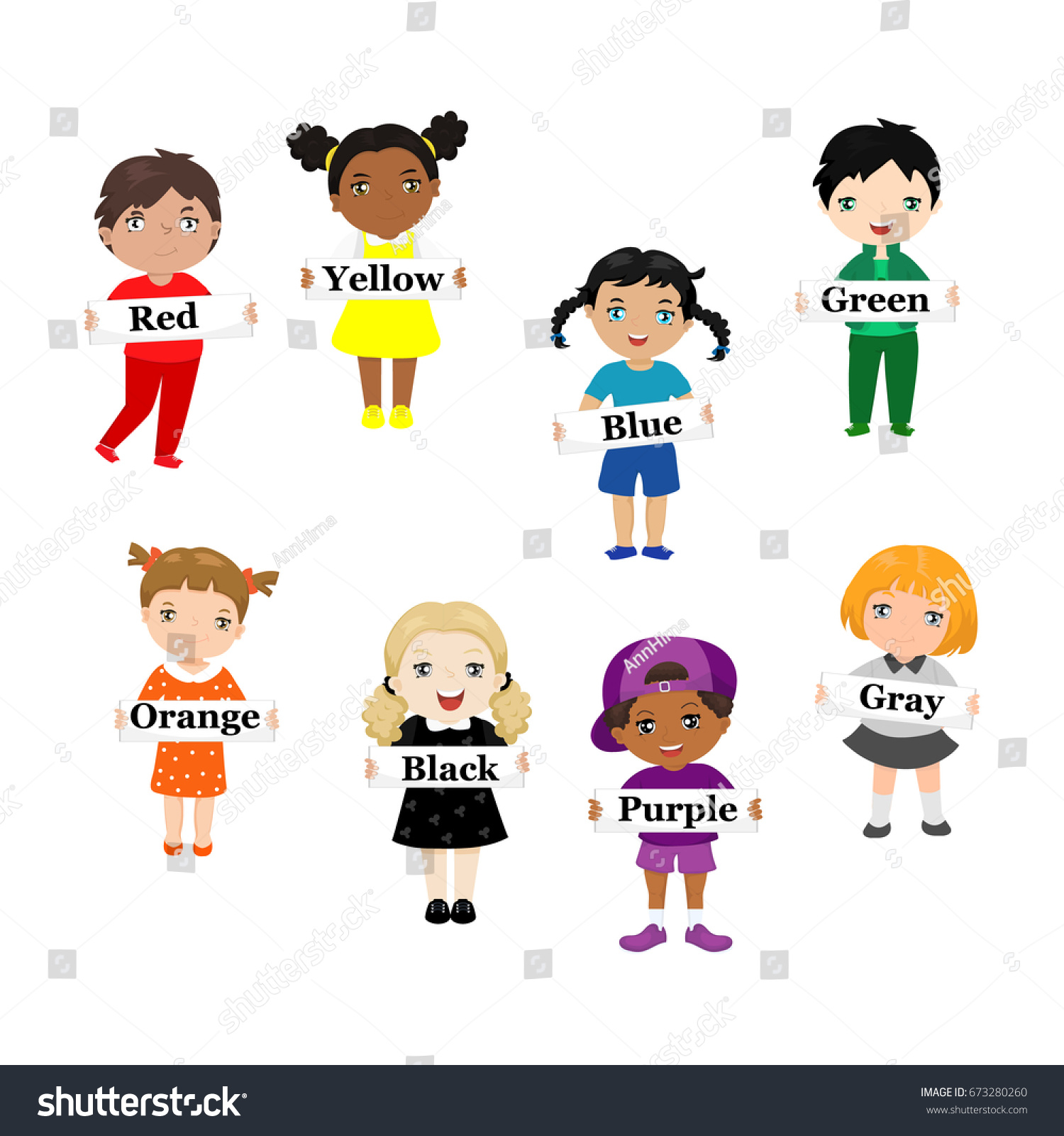 Children Hold Cards Color Names Dressed Stock Vector 673280260 ...