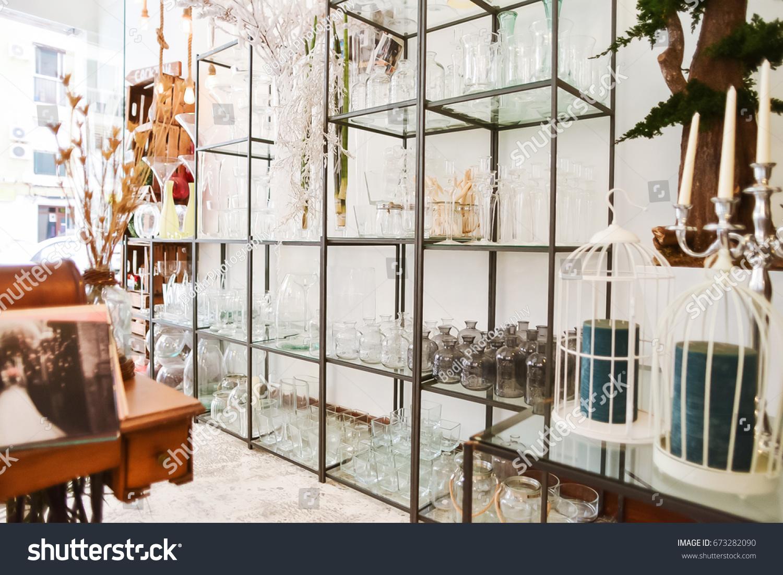 Beautiful Flower Shop Wedding Decorations Glass Stock Photo Edit