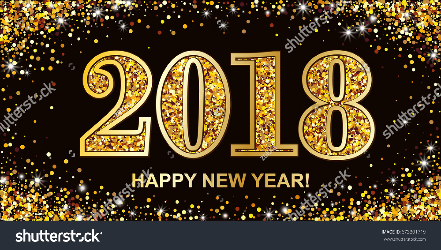 2018 new year greeting card with gold numbers and scattered golden circles on black background