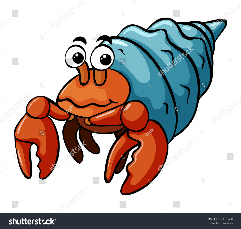 Hermit Crab Happy Face Illustration Stock Vector 673313428 ...