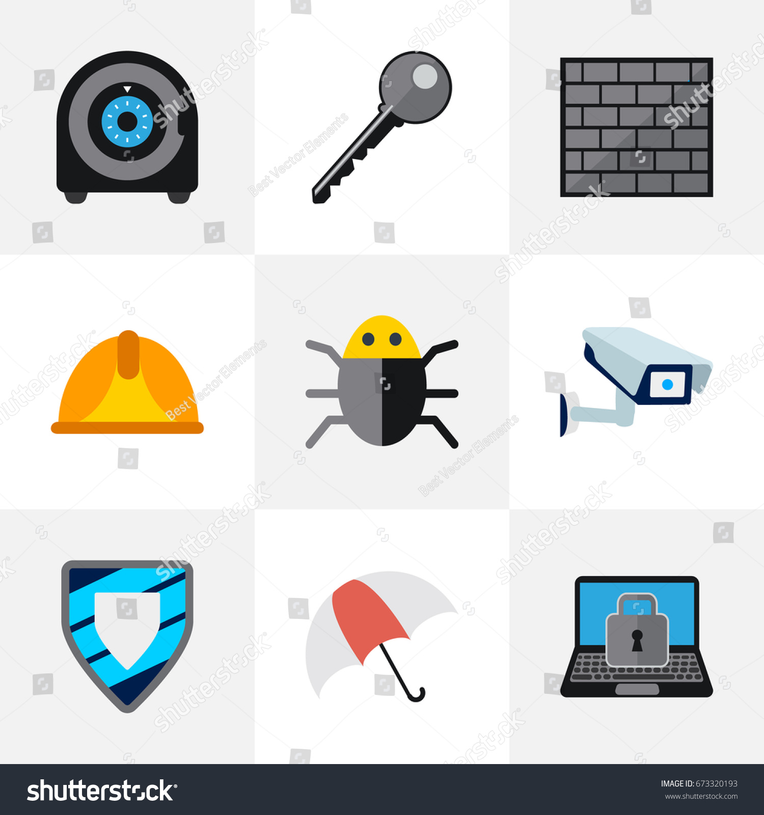 Set 9 Editable Safety Icons Includes Stock Vector 673320193