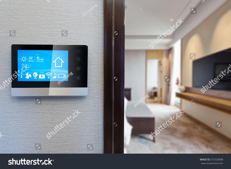 modern luxury living room. digital screen on wall with modern luxury living room Digital Screen On Wall Modern Luxury Stock Photo 673329898