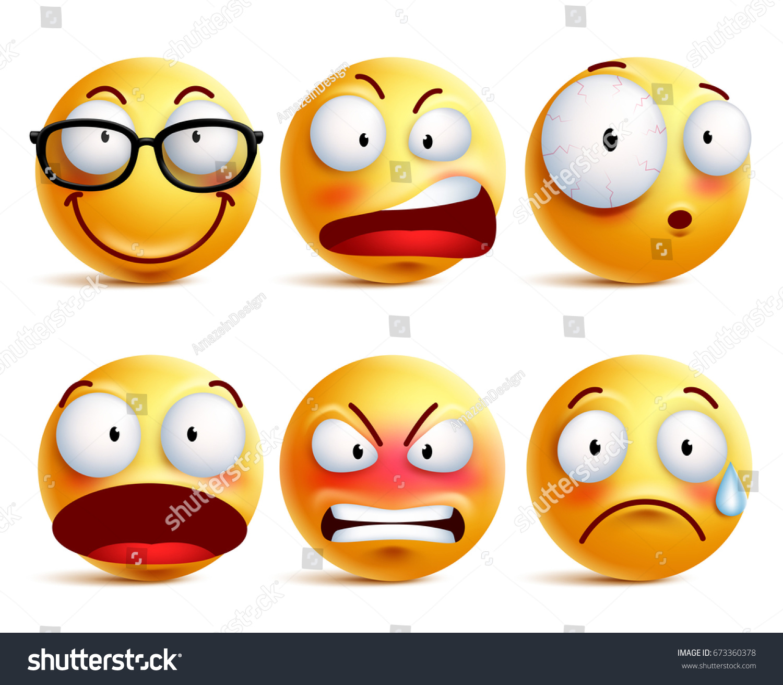 Smiley Face Emoticons Vector Set Yellow Stock Vector Royalty Free