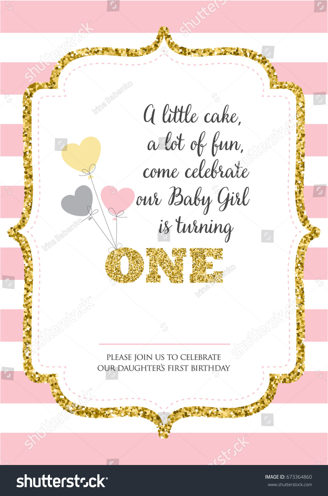 First Birthday Invitation Girl One Year Stock Vector 673364860 ...