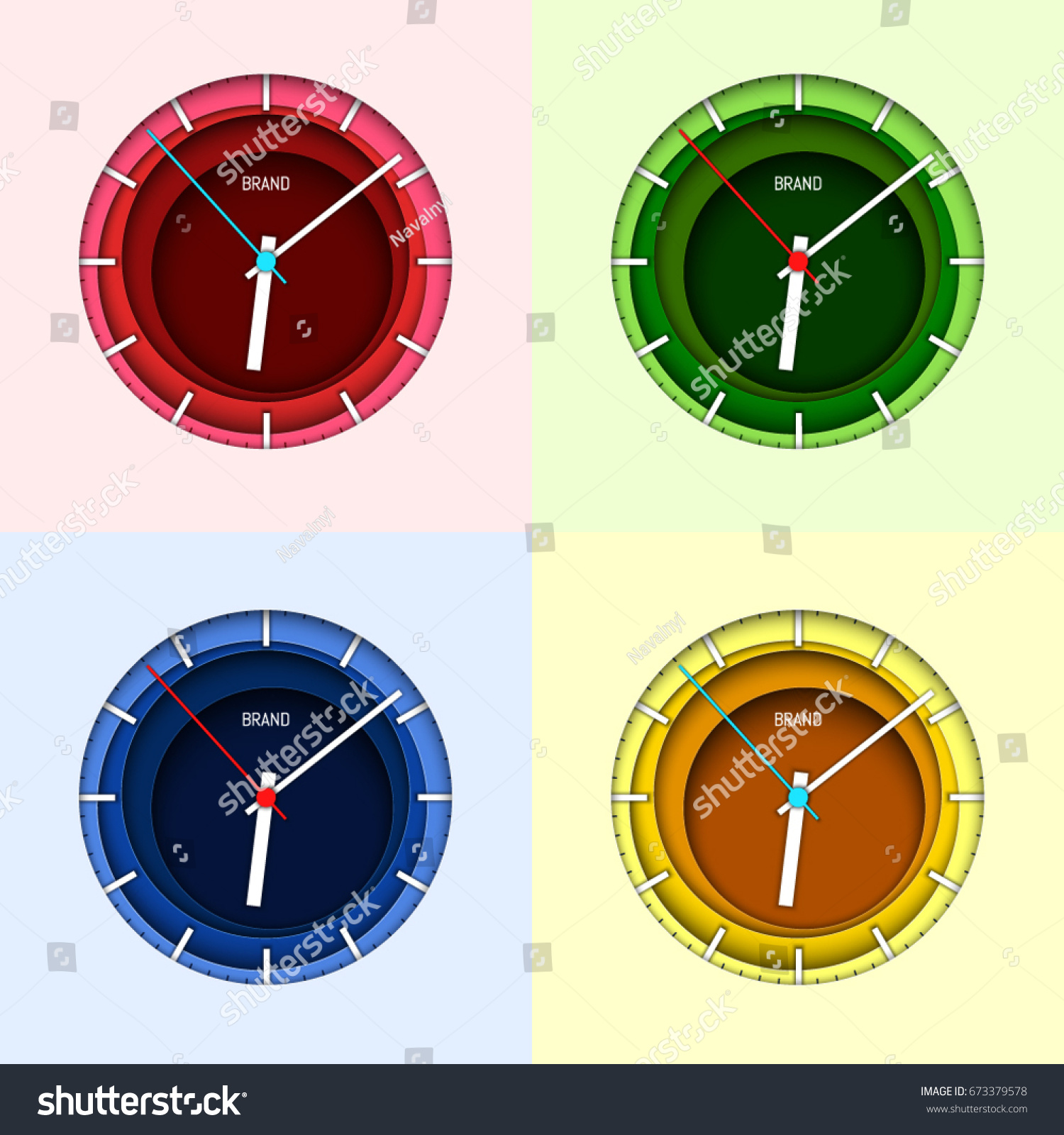 Clock face design set. Paper art style. Abstract background ...