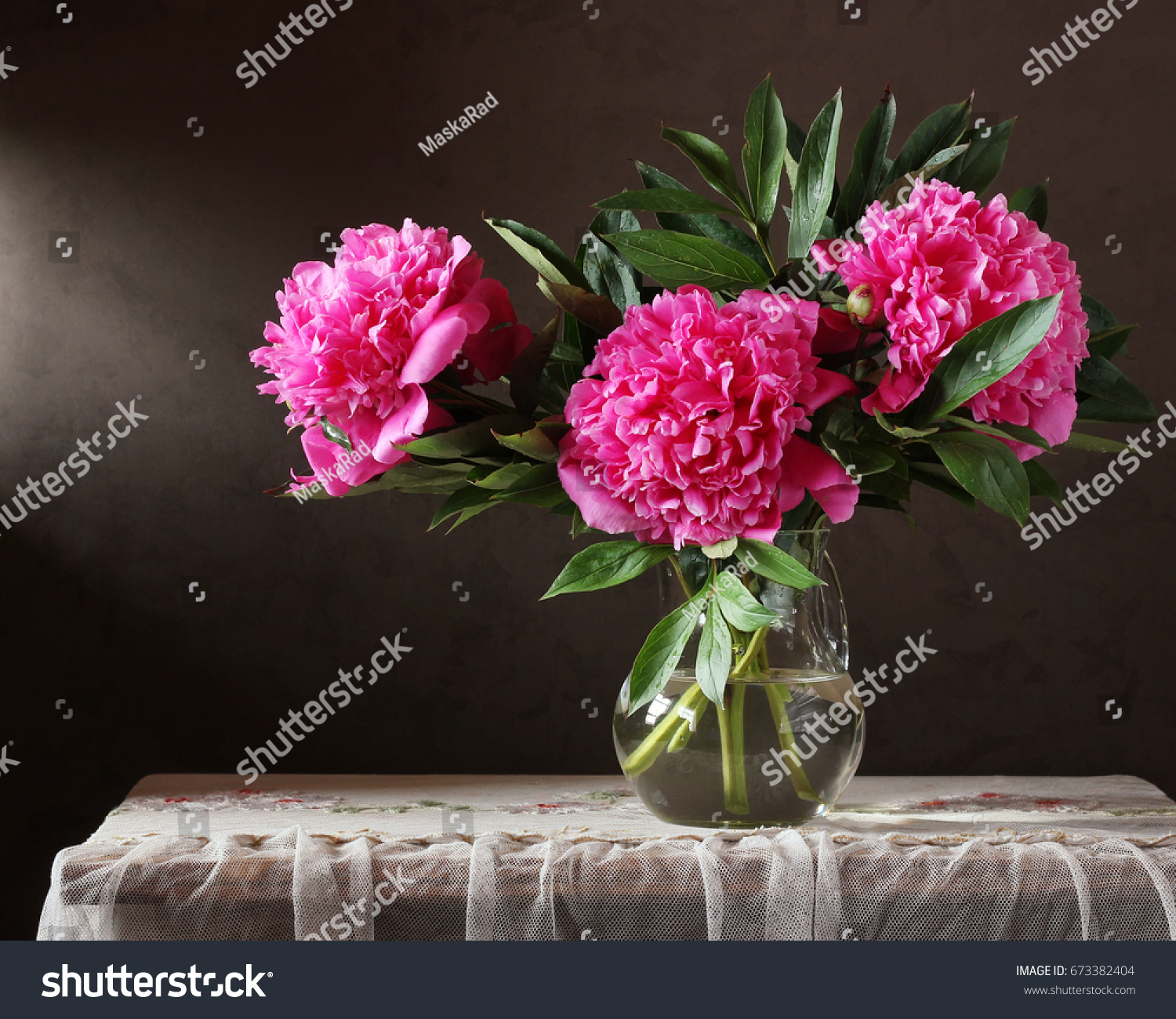 Peonies Bouquet Flowers Vase On Table Stock Photo Edit Now