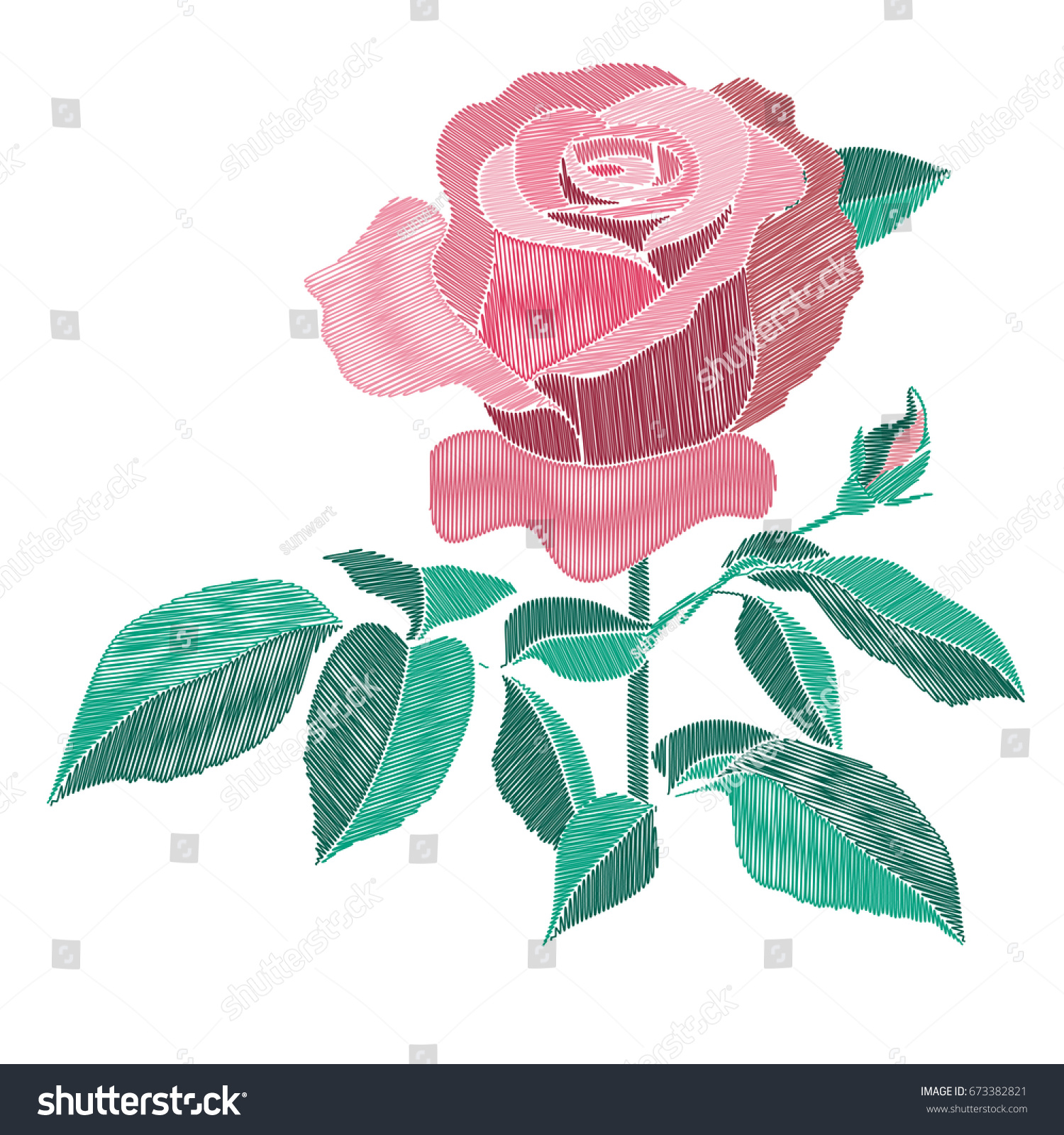Red Pink Embroidery Roses Bush Leaves Stock Vector 673382821