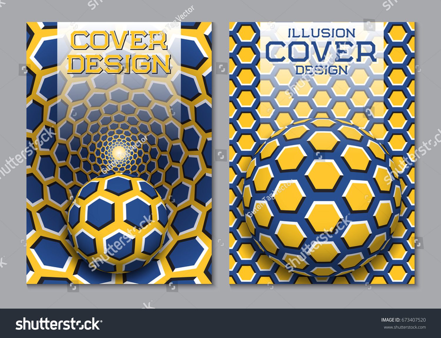 Book color scheme - Blue Yellow Color Scheme Book Cover Design Template With Optical Motion Illusion Elements