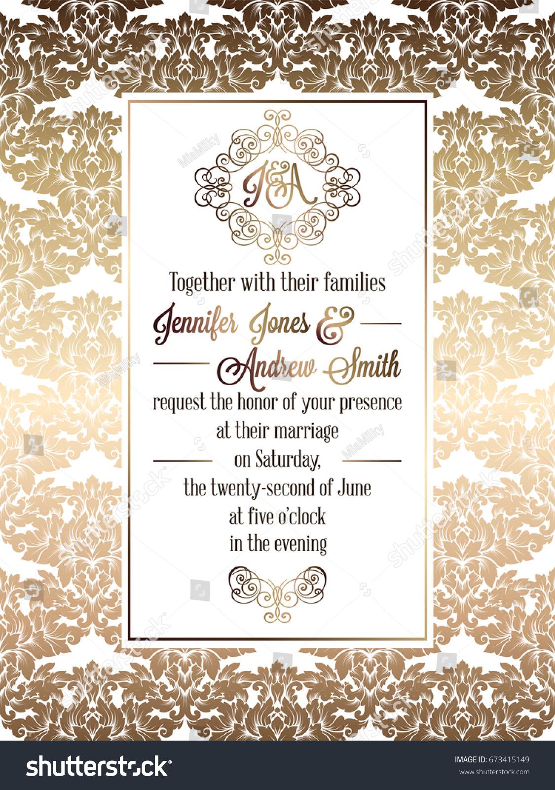 Vintage baroque style wedding invitation card stock vector vintage baroque style wedding invitation card template elegant formal design with damask background stopboris Images