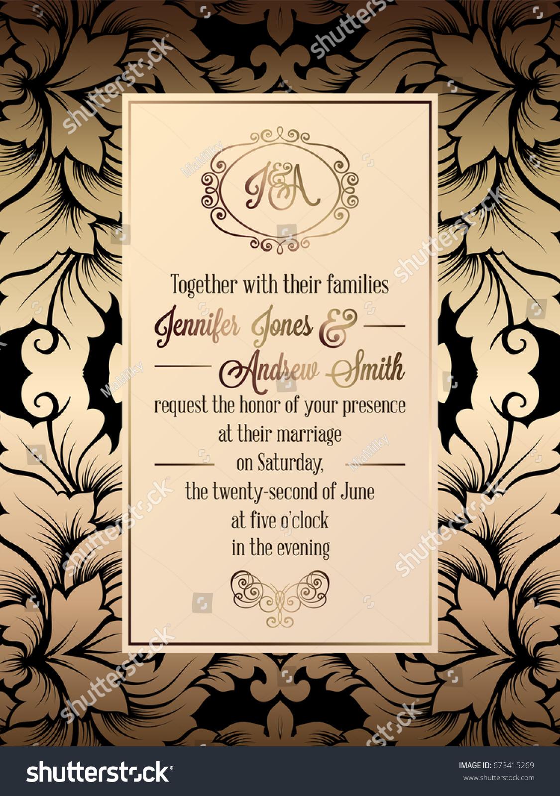 Vintage Baroque Style Wedding Invitation Card Stock Vector HD ...