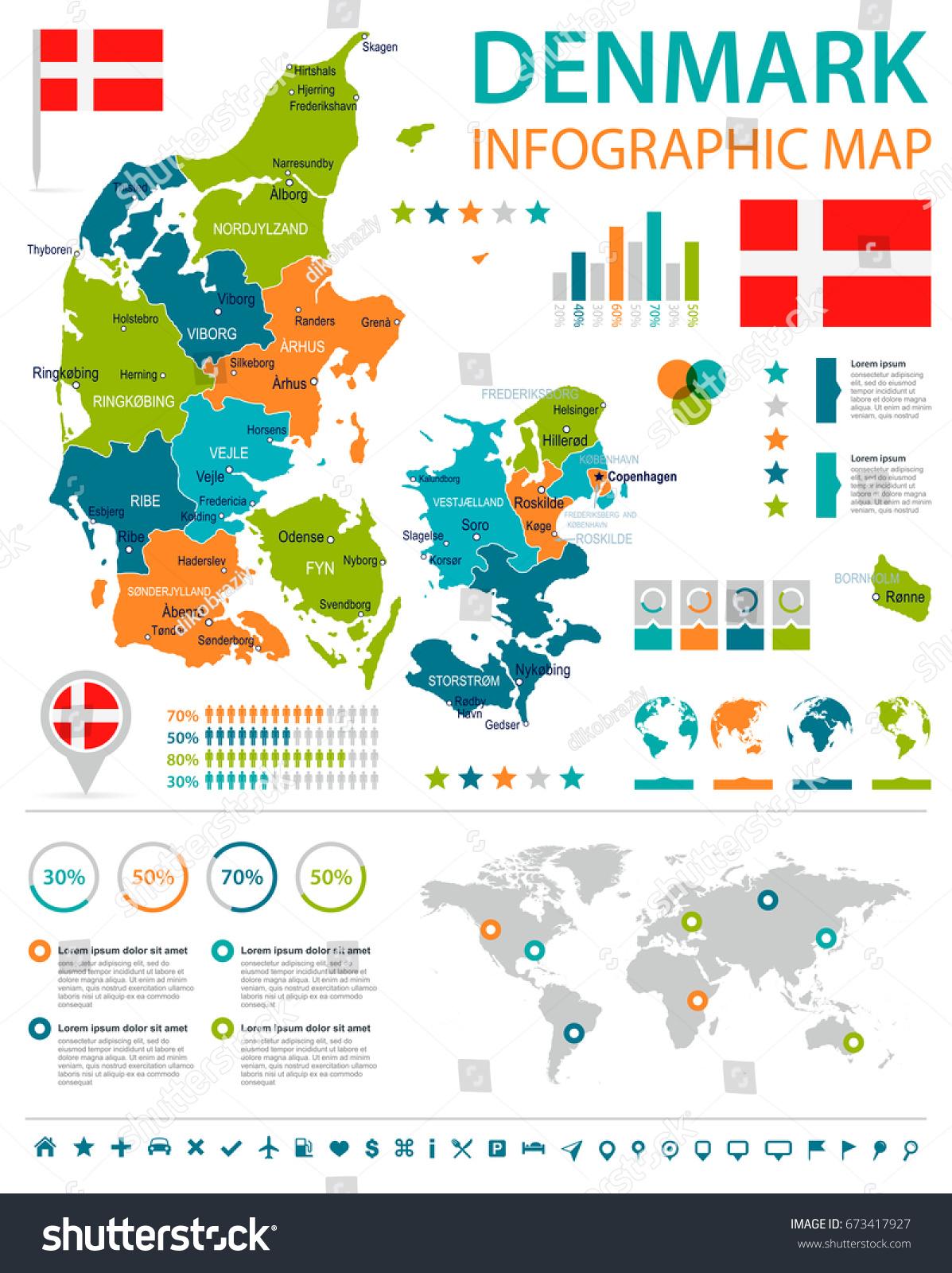 denmark infographic map flag vector illustration stock vector