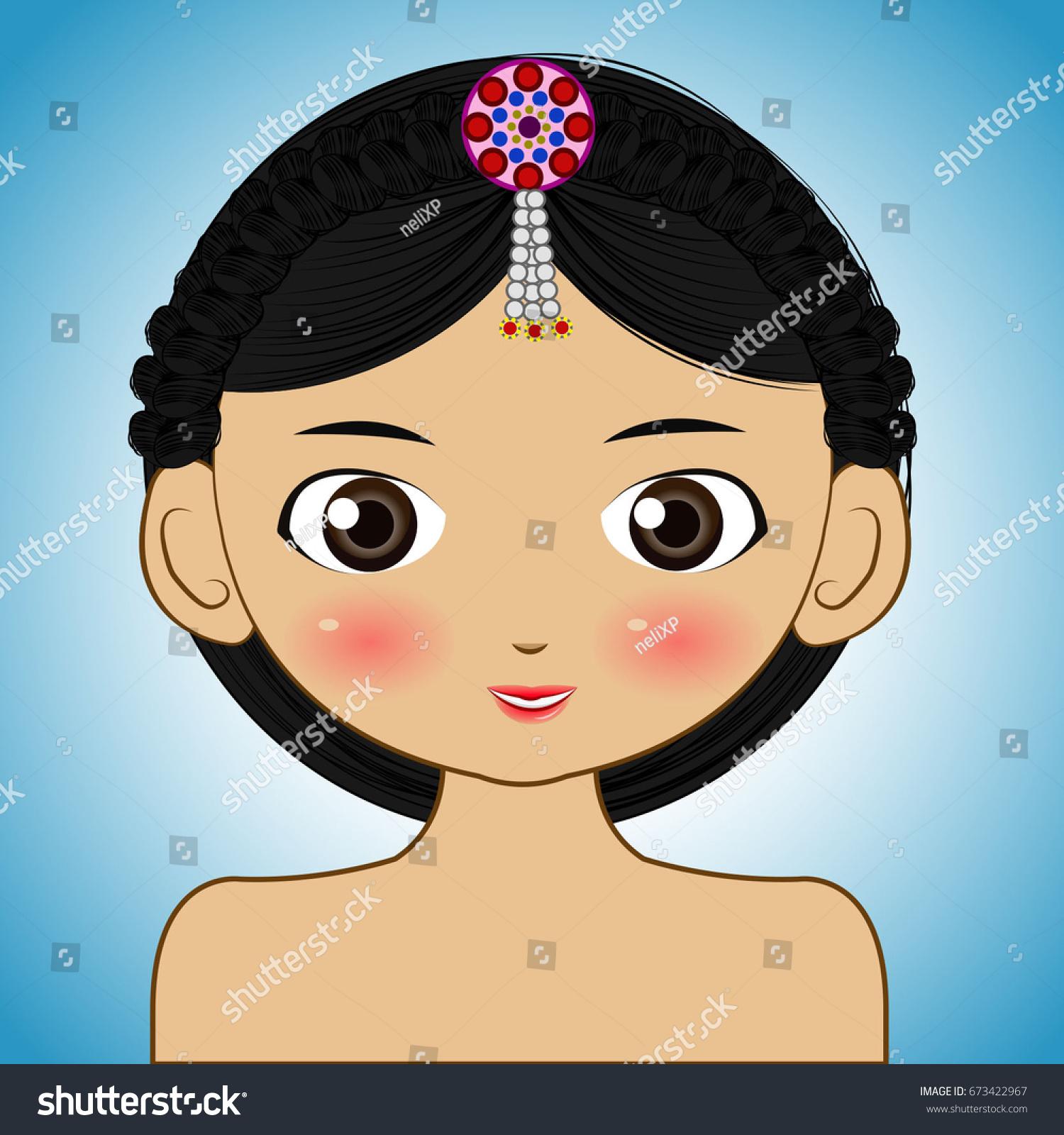 Beautiful Korean Girl Big Eyes Cute Stock Vector Royalty Free 673422967