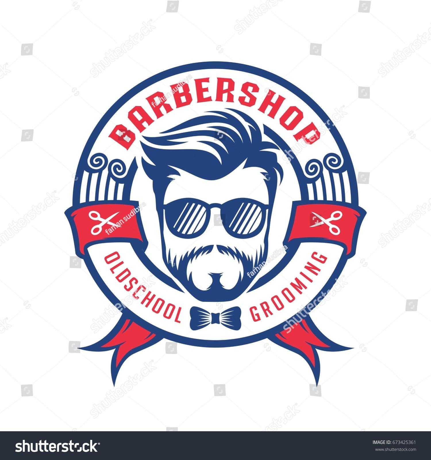 Barber Shop Badge Logo Template Stock Vector Royalty Free