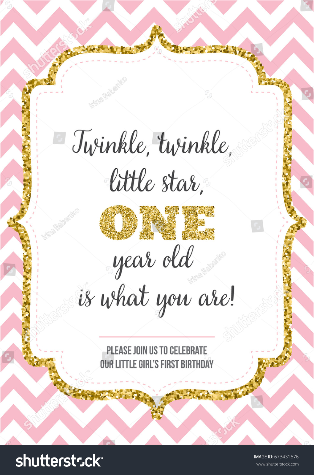 First Birthday Invitation Girl One Year Vector 673431676 – Template for Invite