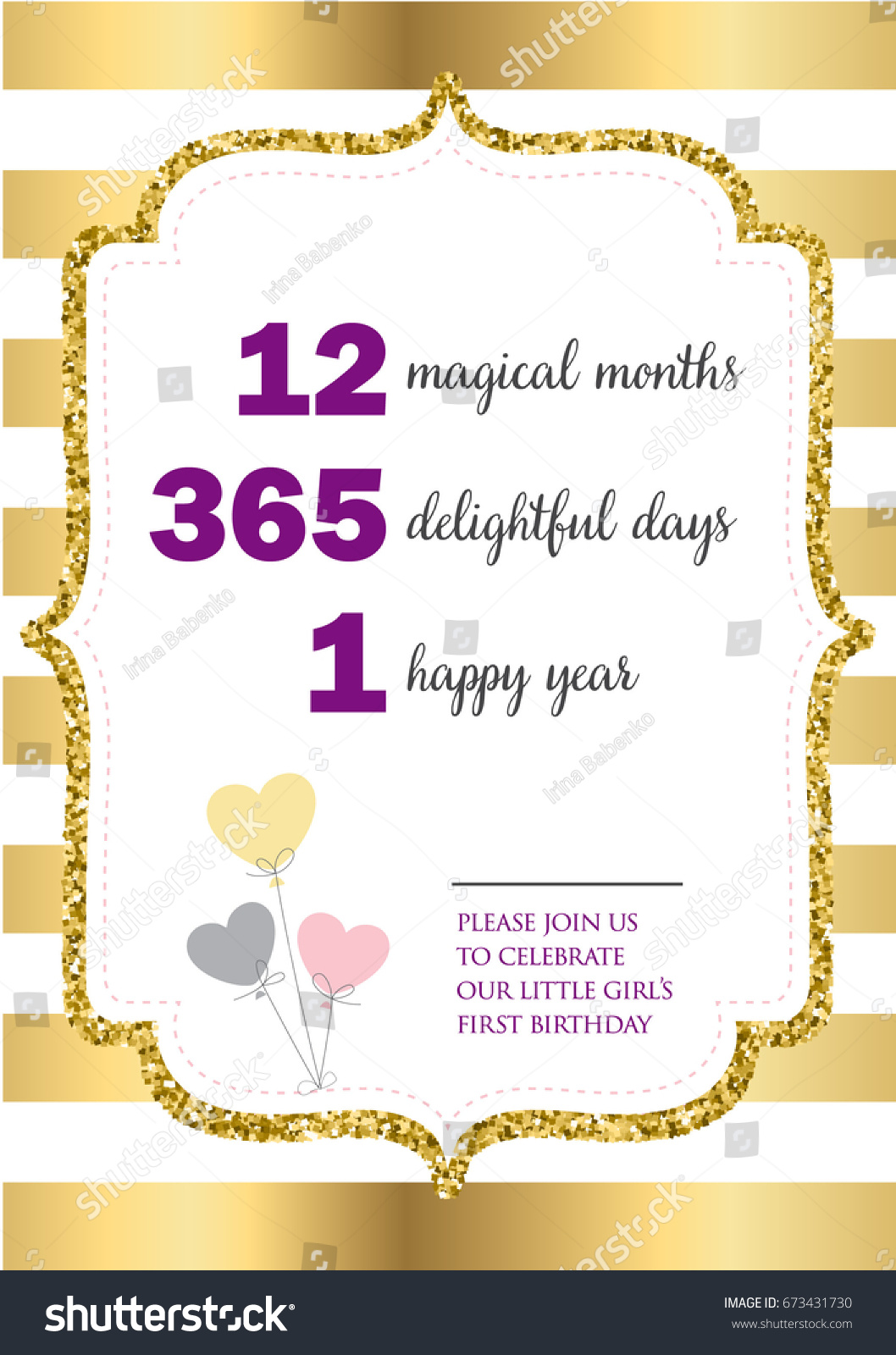 First Birthday Invitation Girl One Year Vector 673431730 – One Year Old Birthday Invitation