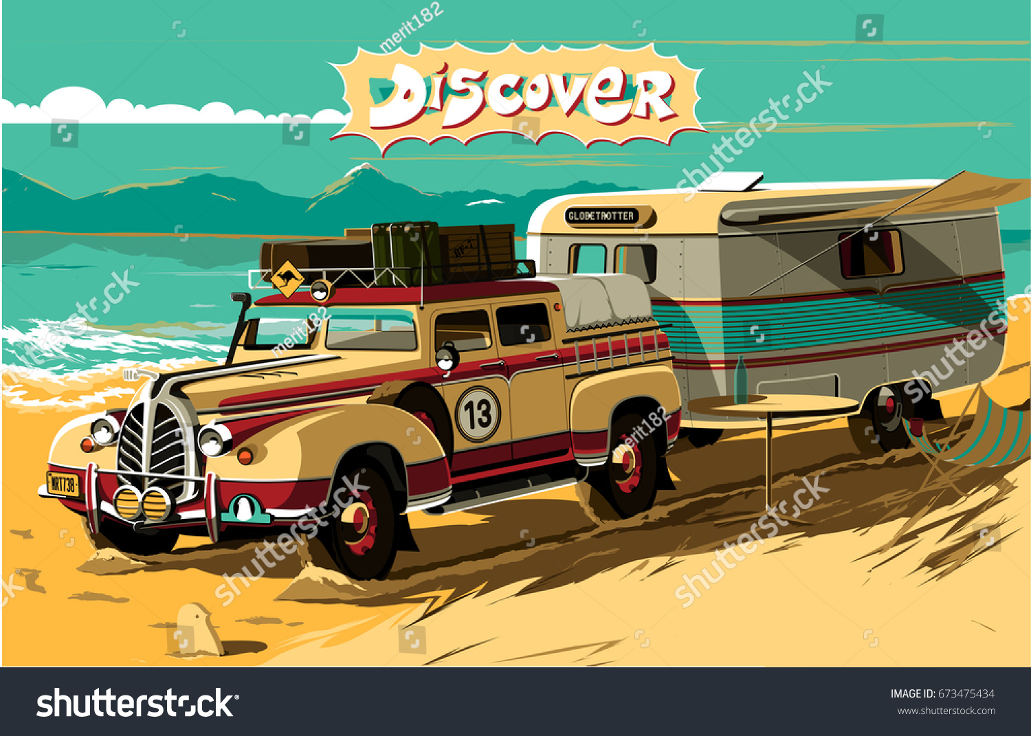 Vintage Car Camping Trailer By Sea Stock Vector HD (Royalty Free ...