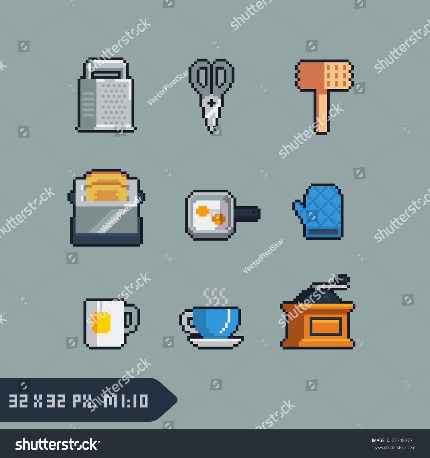 Pixel Art Style Kitchenware Icons 32 X 32 Stock Vector (Royalty Free ...