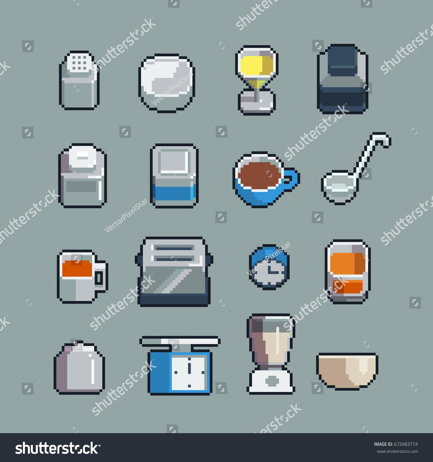 Pixel Art Kitchen Utensils Tools Vector Vectores En Stock 673483774 ...