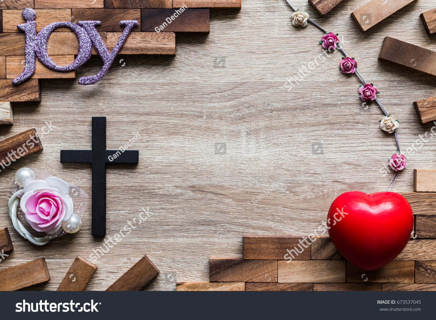 Top View Black Wooden Cross Red Stock Photo Royalty Free Royalty