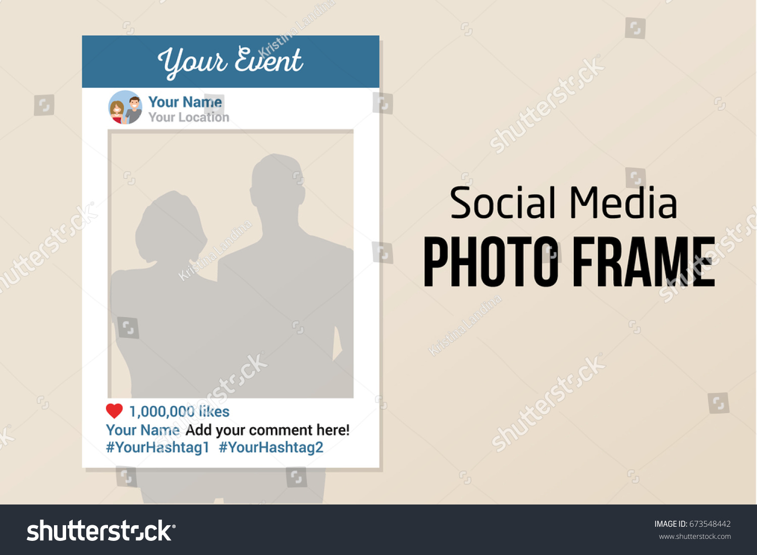 Social Media Photo Prop Frame With Likes White Vector Template Similar To The Most Popular