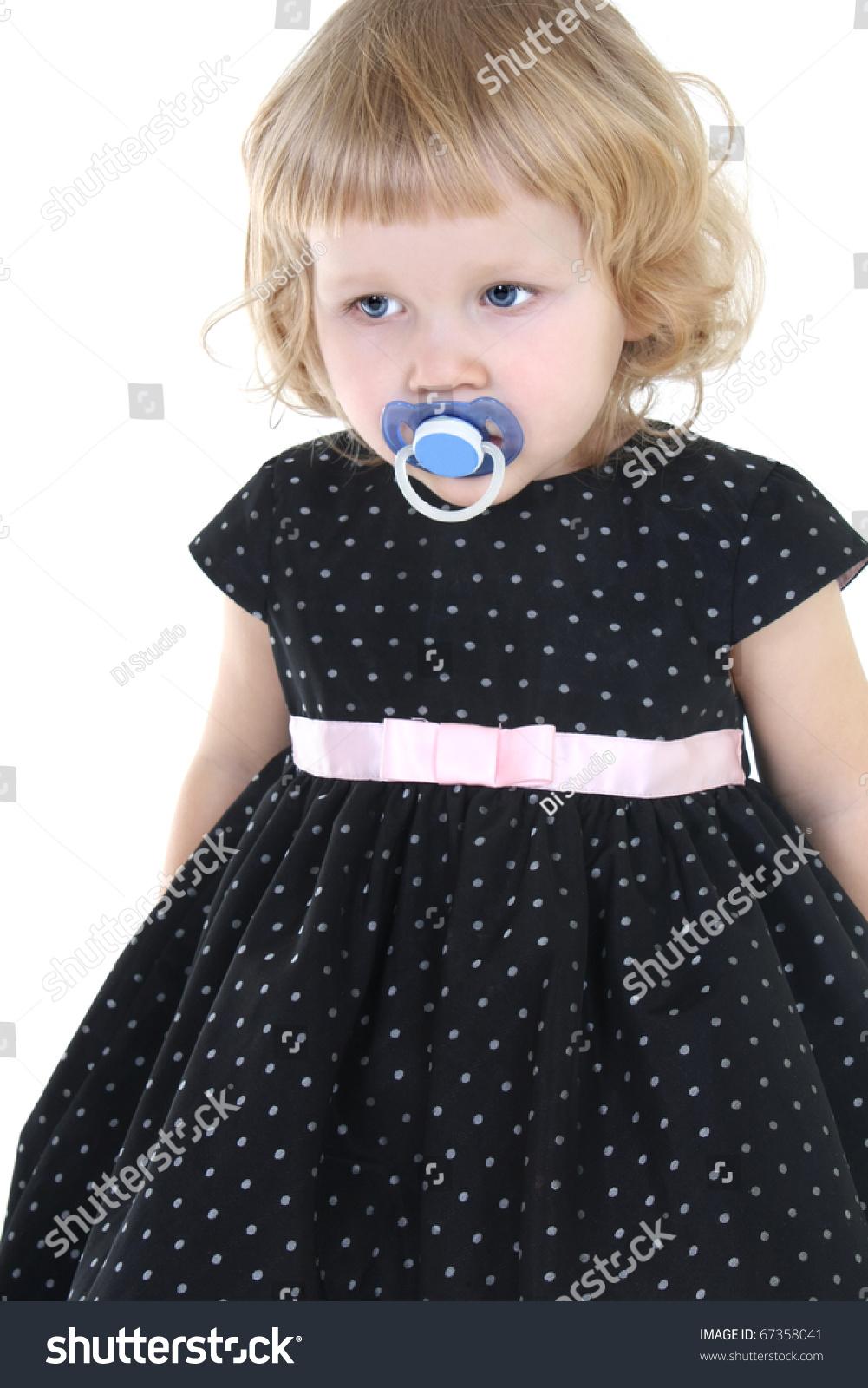 Little girl nipple sad little girl in black dress with nipple over white