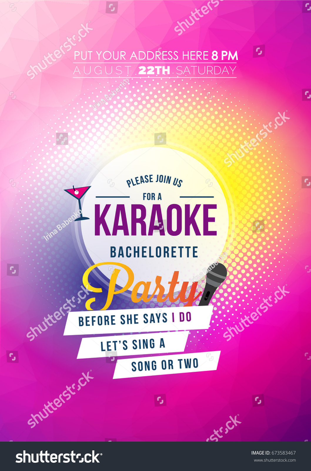 Bachelorette Karaoke Party Invitation Card Stock Vector 673583467 ...