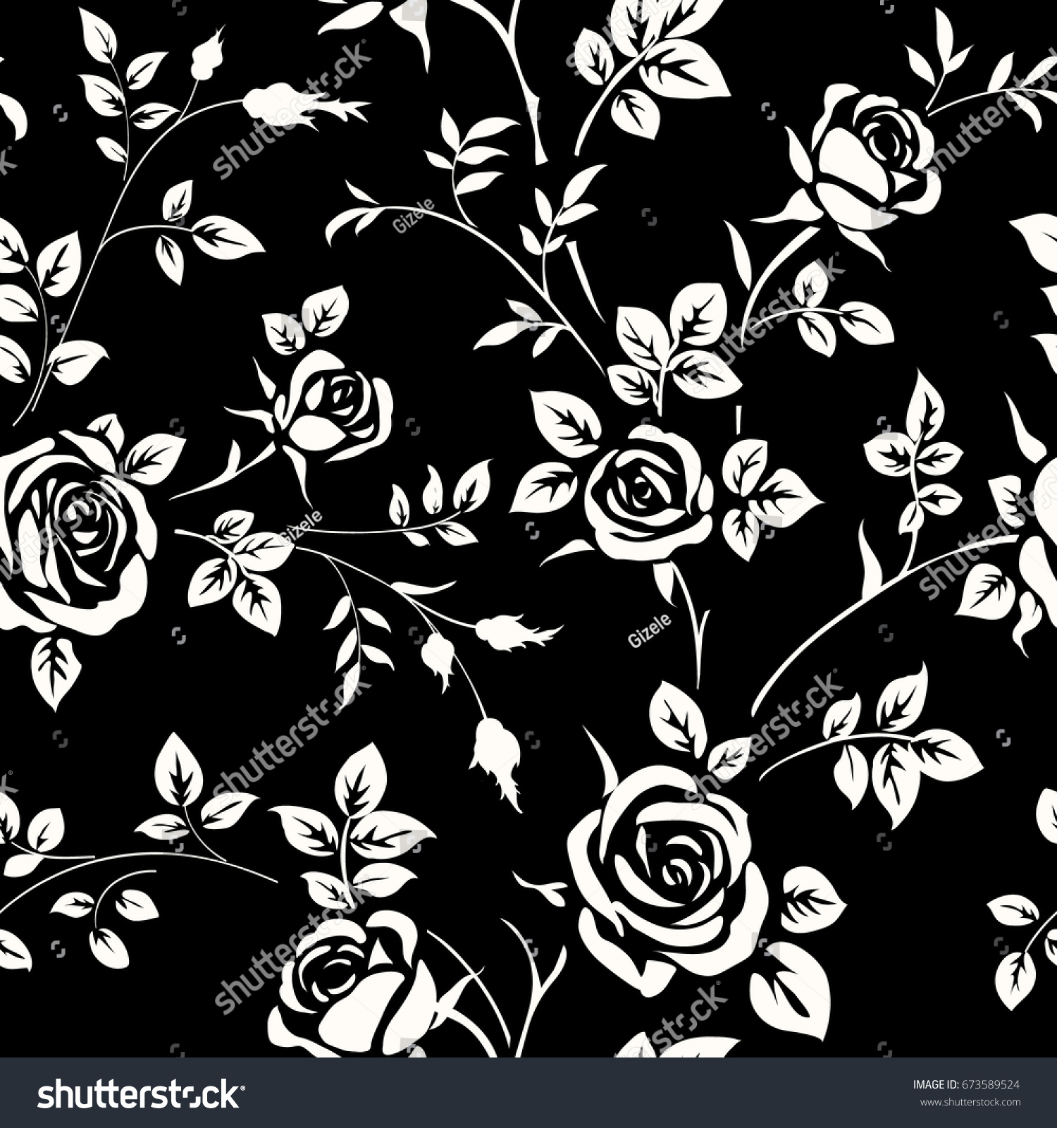 Seamless Pattern White Rose Silhouette On Stock Vector Royalty Free
