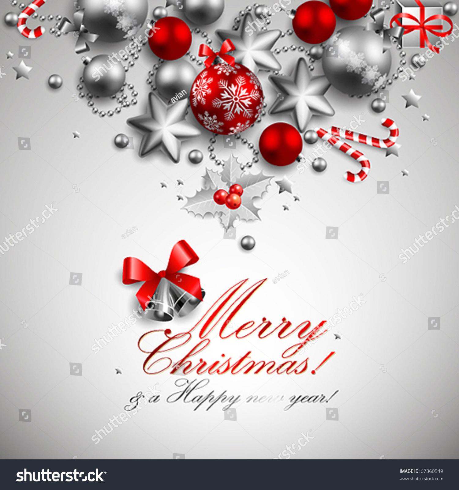 Beautiful Red Silver Christmas Background Stock Vector 67360549 ...