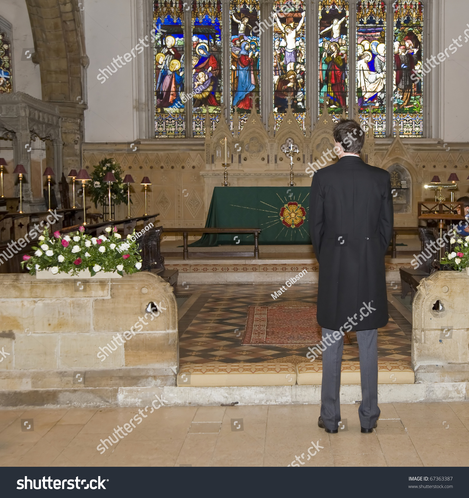 Window Wedding Altar: Groom Waiting In Church For Arrival Of Bride With Altar