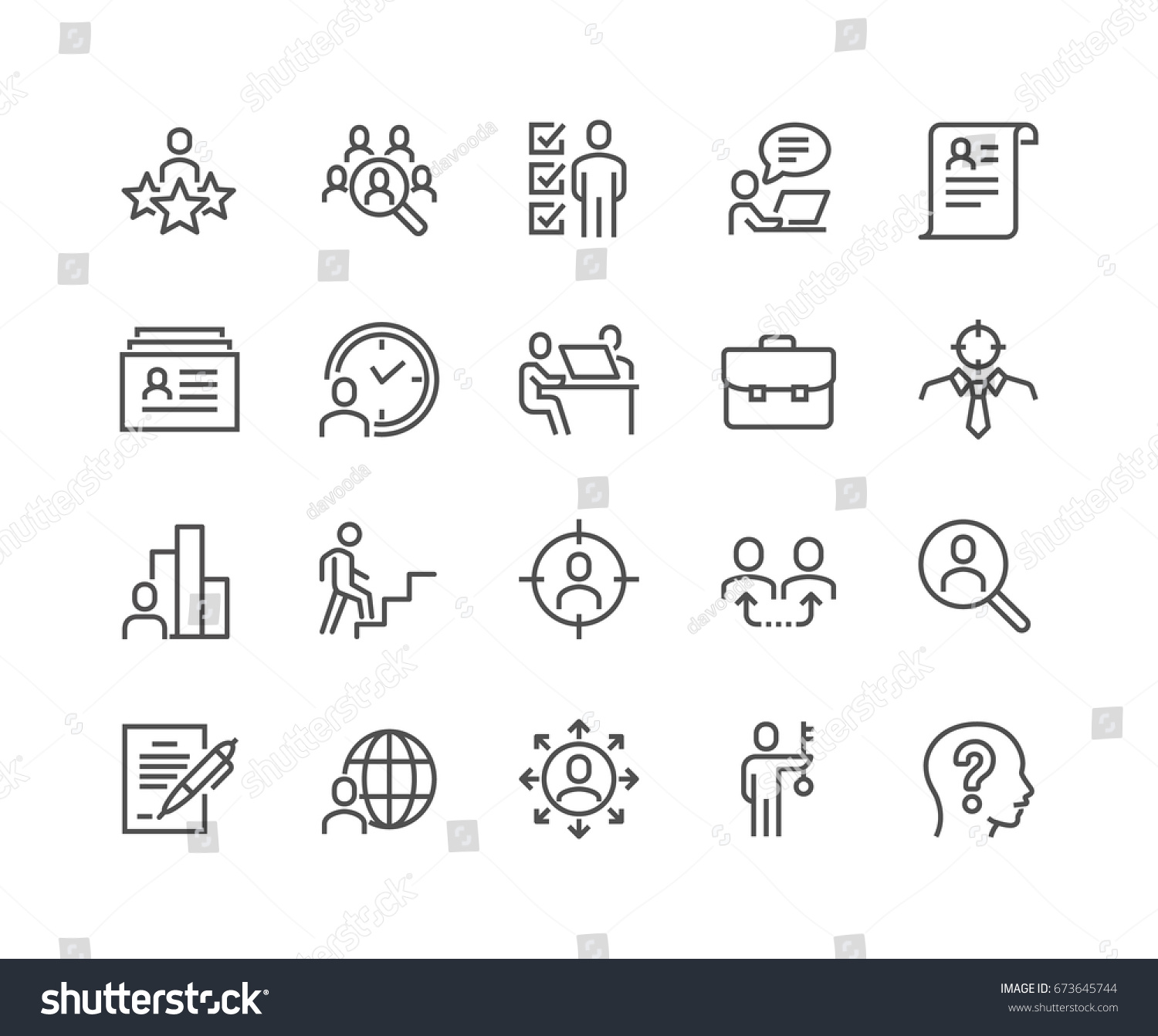 Simple Set of Head Hunting Related Vector Line Icons.  Contains such Icons as Job Interview, Career Path, Resume and more. Editable Stroke. 48x48 Pixel Perfect. #673645744