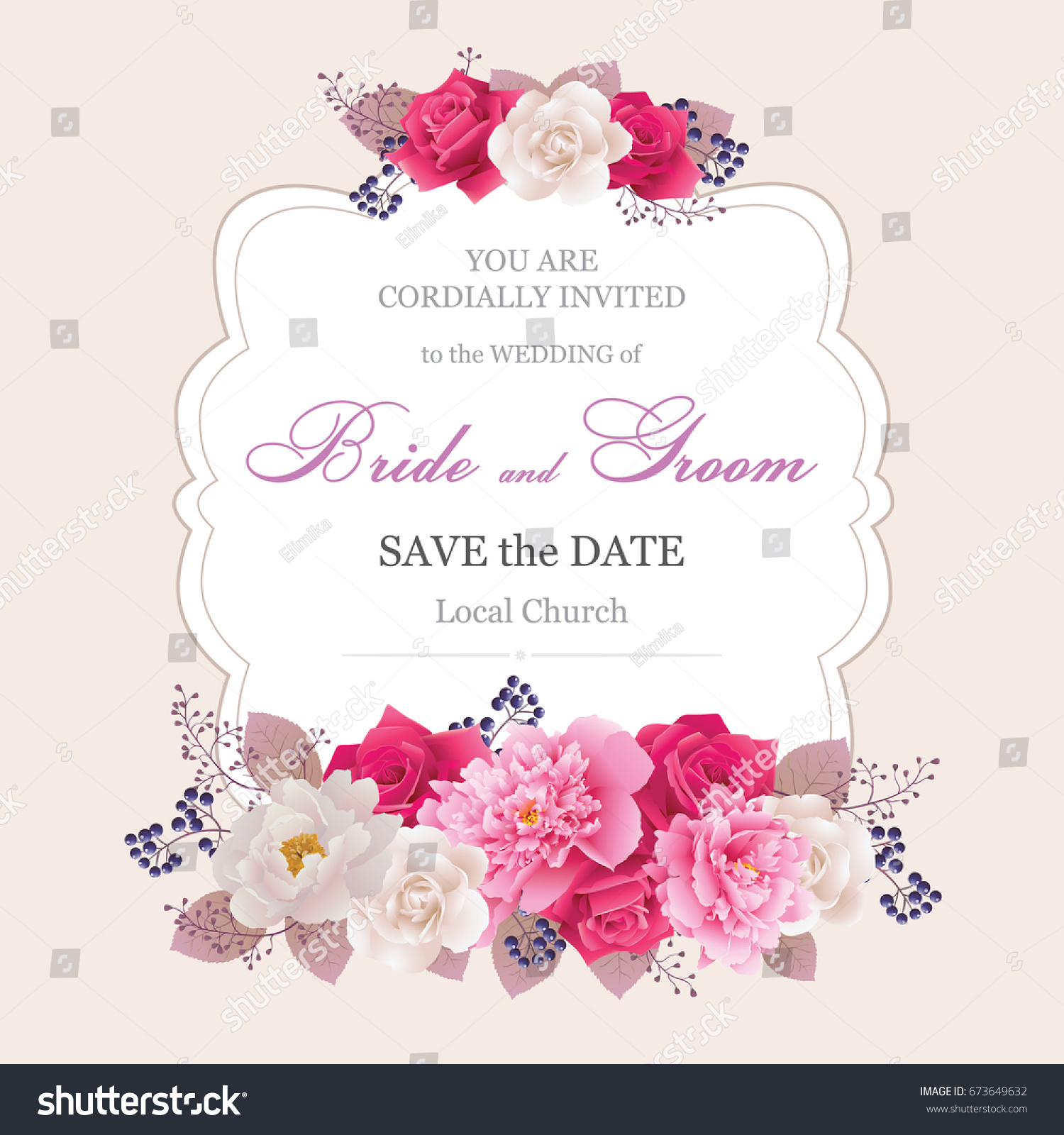 Wedding Invitation Cards Flower Beautiful White Pink Stock Vector ...
