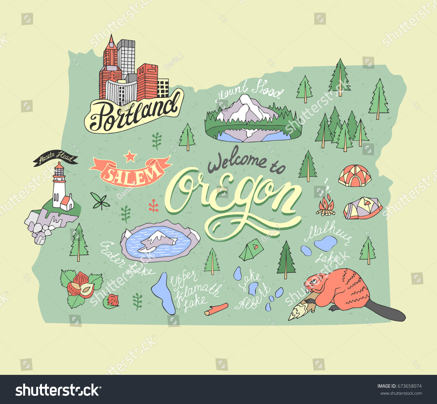 Illustrated Map Oregon State Usa Travel Stock Vector - Usa map oregon