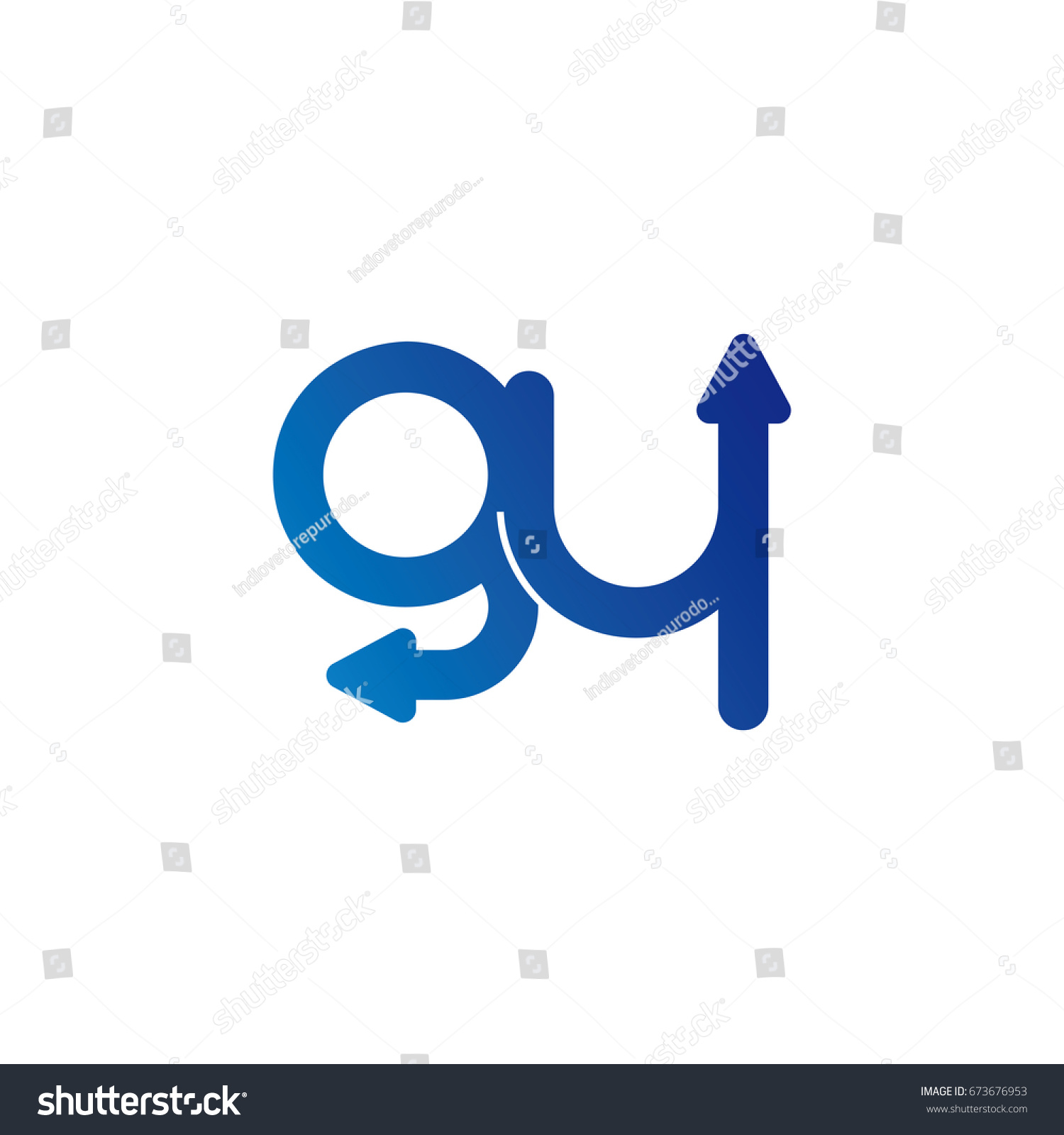 Initial Letter Logo Gy Yg G Y Arrow Rounded Lowercase Blue