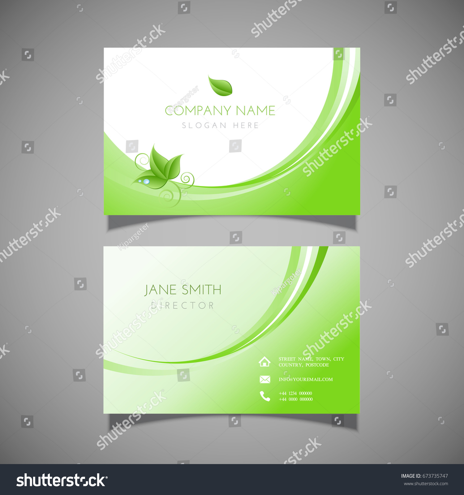 Business Card Leaf Design Ideal Health Stock Vector 673735747 ...