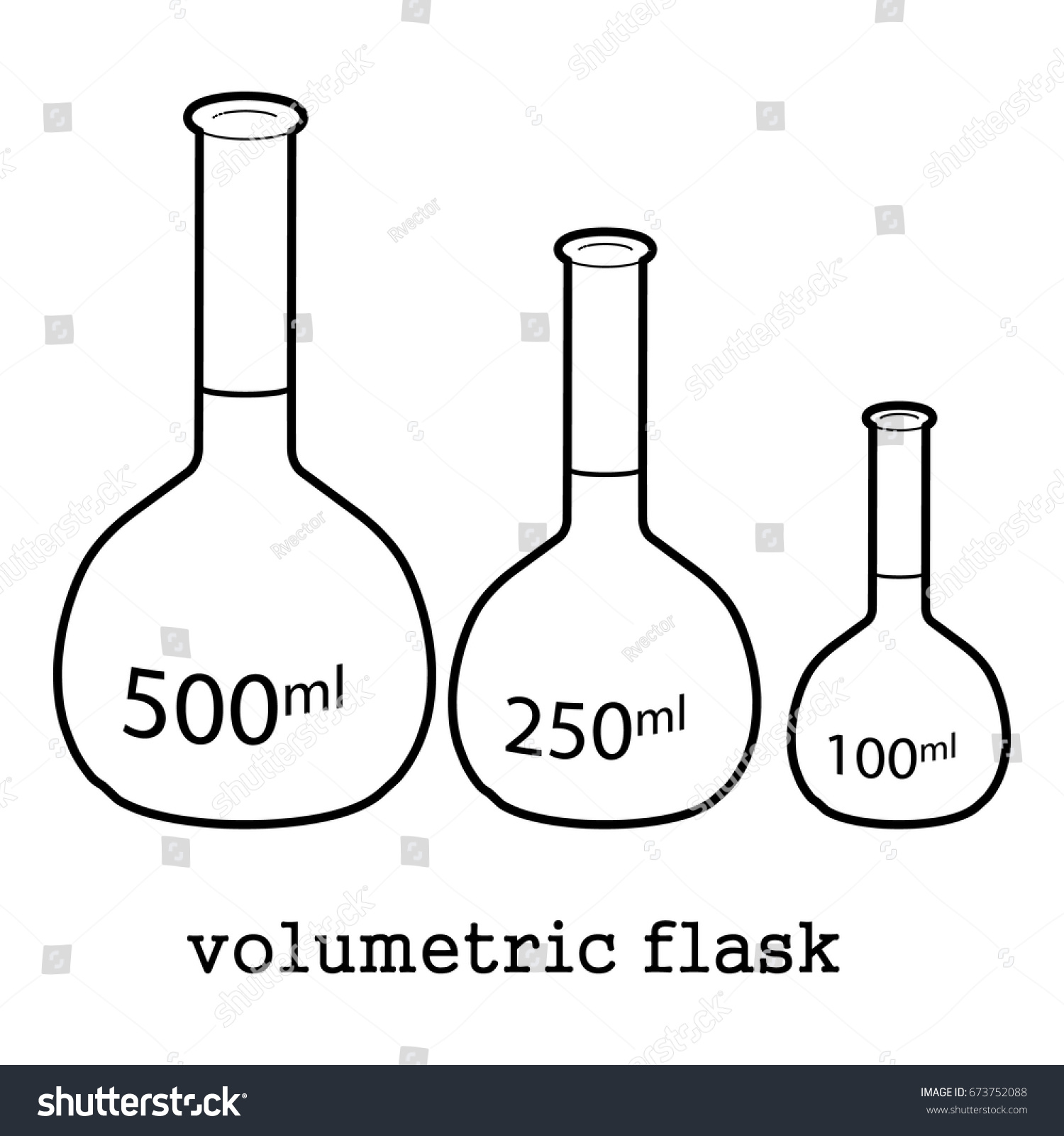 volumetric flask icon outline style isolated stock vector (royalty