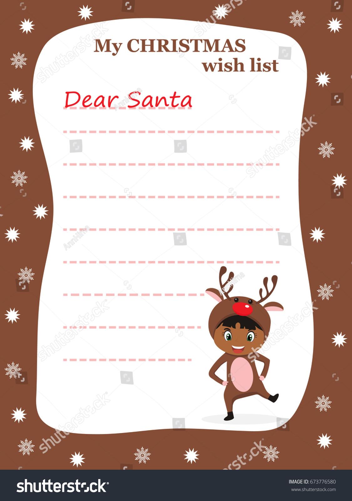 Dear Santa Letter Santa Claus Copyspace Stock Vector
