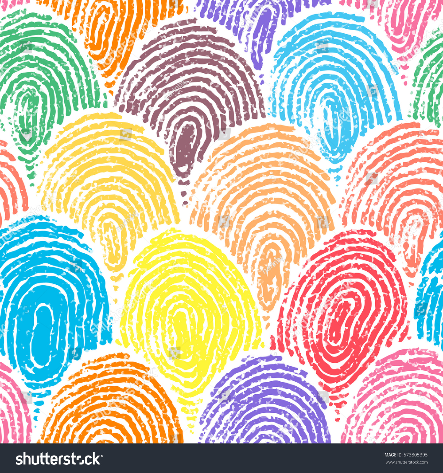 Colorful Doodle Fingerprint Drawing Seamless Background Stock Vector ...