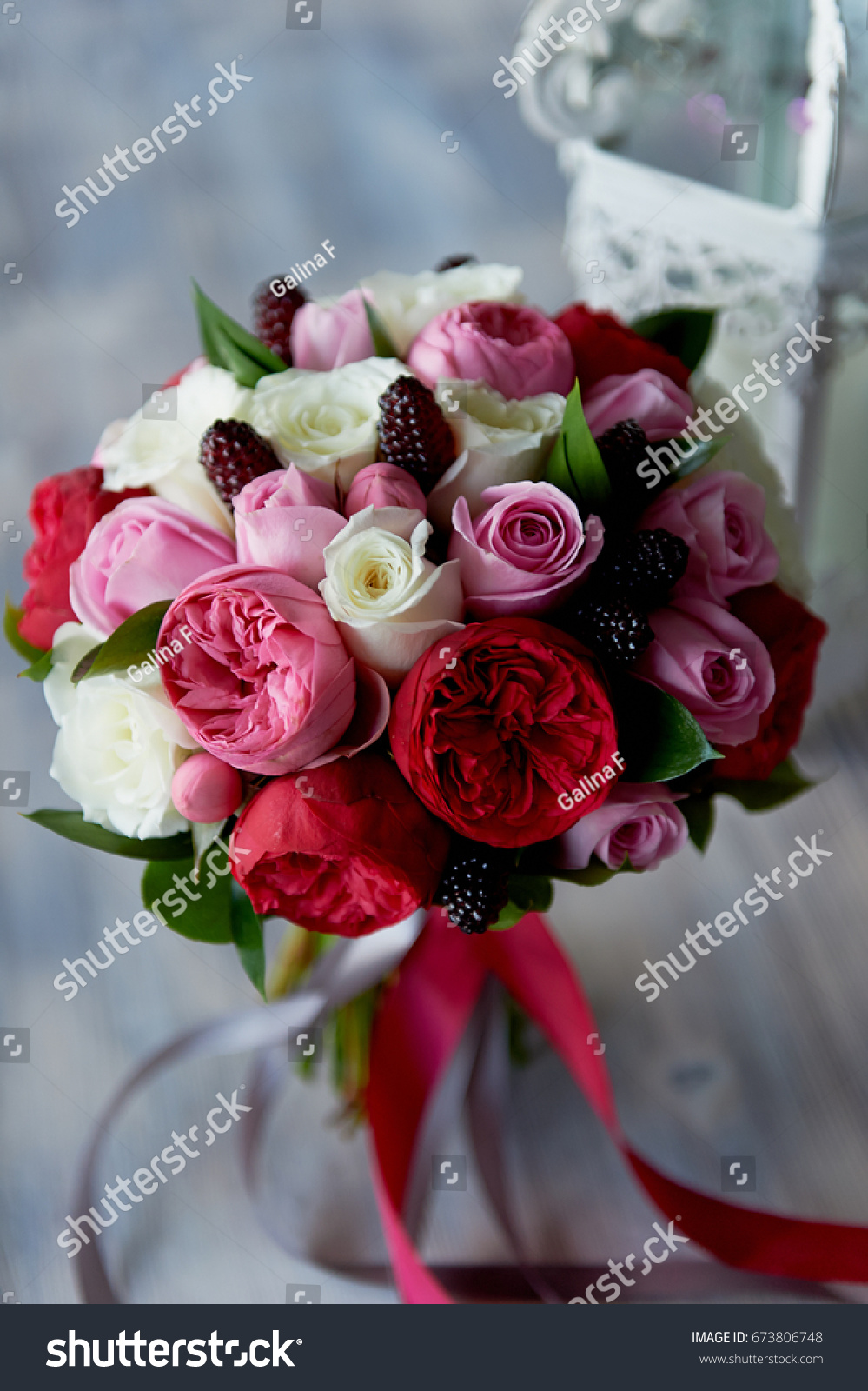 Wedding Bridal Bouquet In Red Pink White Wedding Flowers Wedding