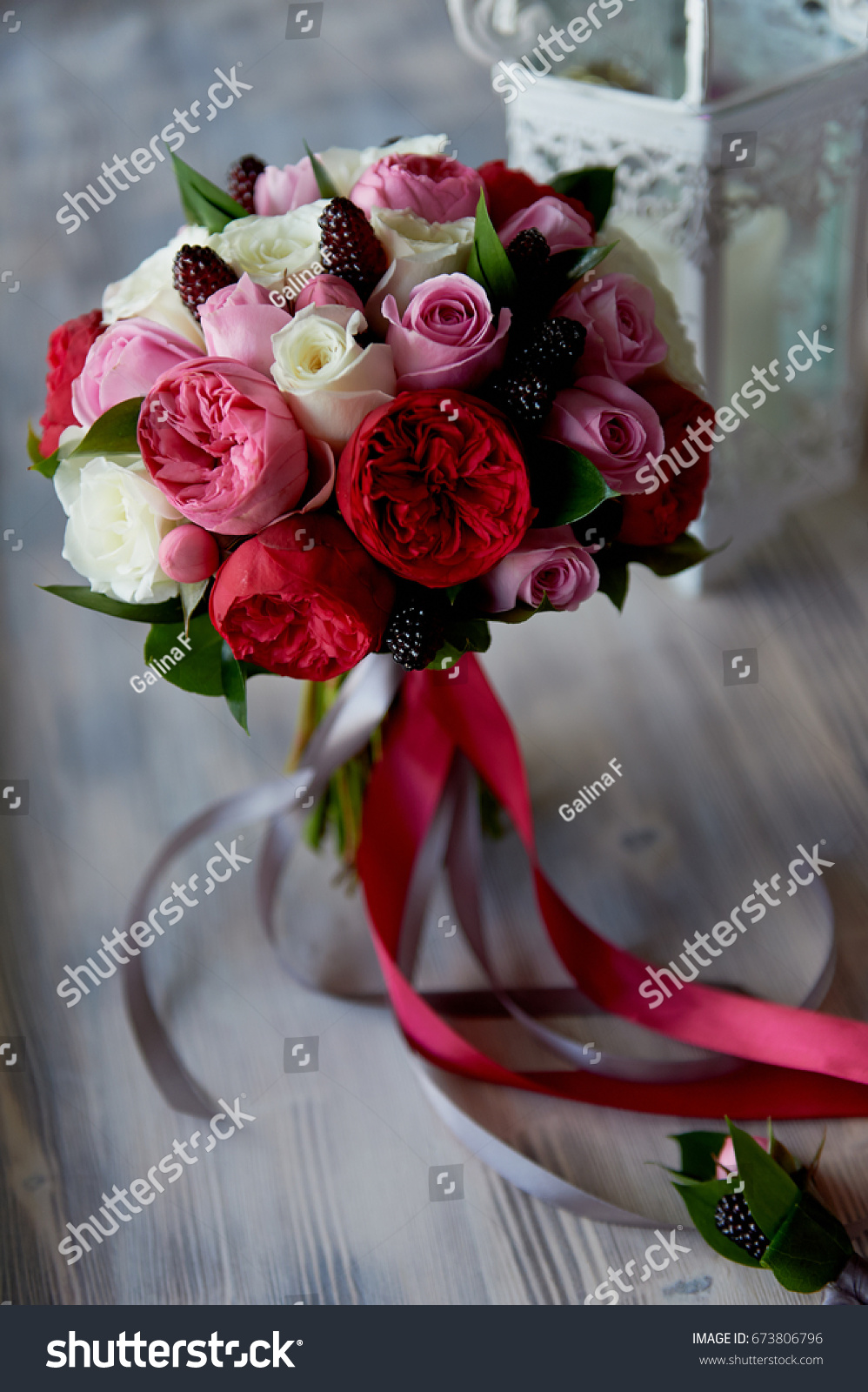 Wedding Bridal Bouquet Red Pink White Stock Photo Edit Now