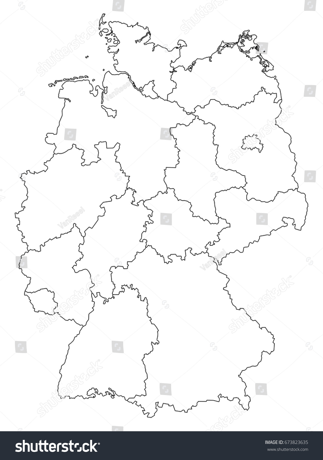 Germany outline map with federal states isolated on white background ...