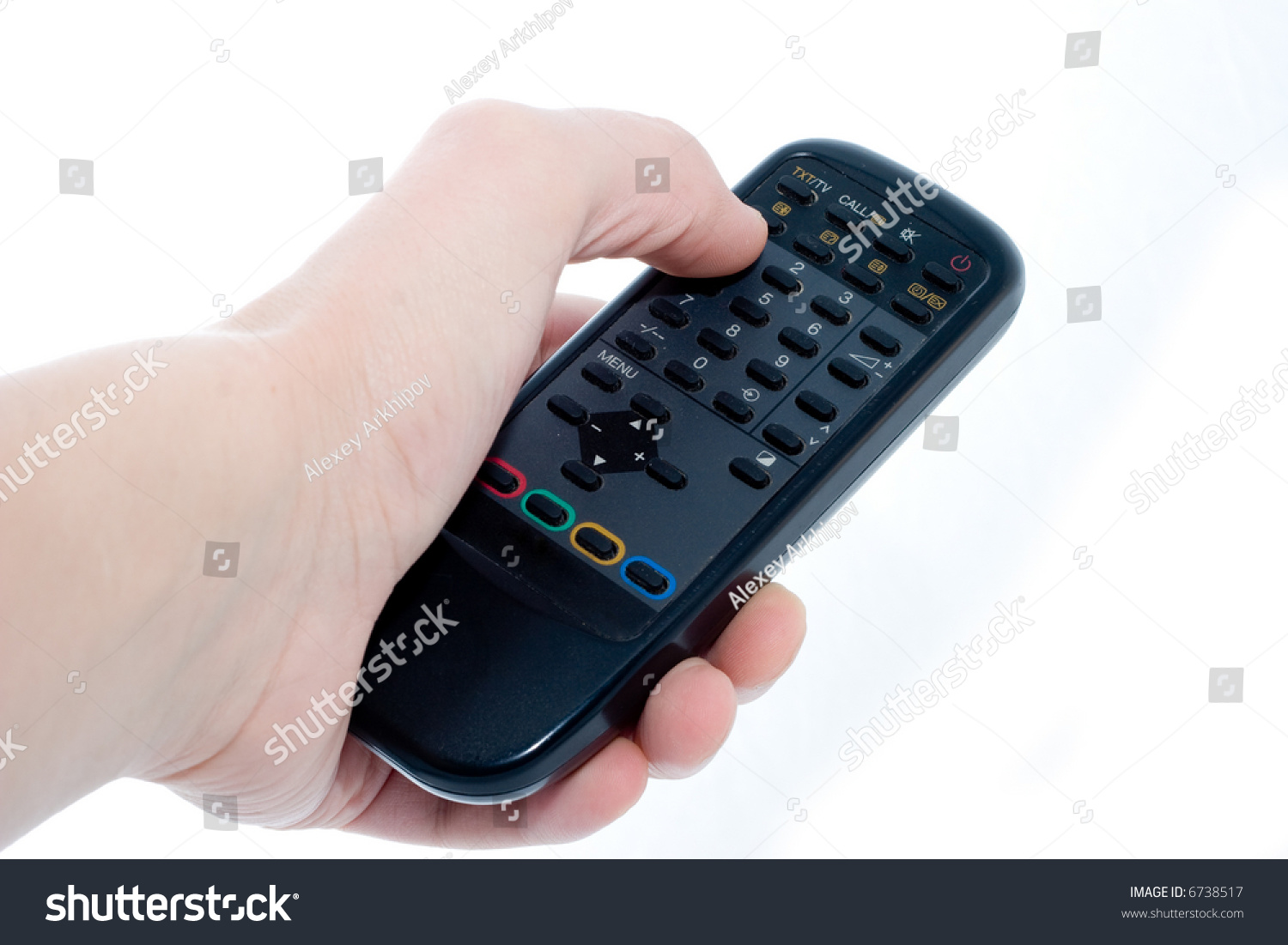 Black Infrared Remote Control Unit Hand Stock Photo Edit Now In On A White Background